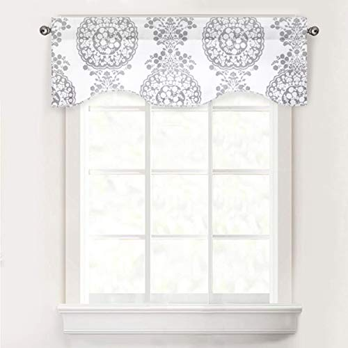 DriftAway Samantha Scalloped Edge with Selfcord Lined Thermal Insulated Energy Saving Rod Pocket Window Curtain Single Swag Valance 52 Inch by 16 Inch Plus 2 Inch Header Gray