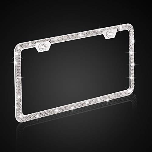 Luxury Handmade Thin Border Stainless Steel License Plate Frames for Front Back License ONCHA Bling White Rhinestone License Plate Frame for Women