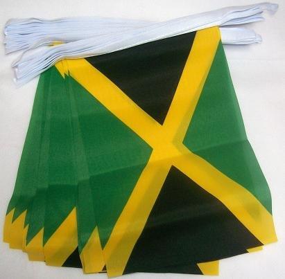 AZ FLAG Guirlande 4 mètres 20 Drapeaux Jamaïque 15x10 cm - Drapeau jamaïcain 10 x 15 cm