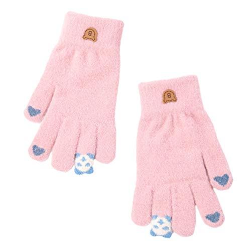 KESYOO 1 Paar Mädchenhandschuhe Winter Dicke Warme Strickhandschuhe Winter Warme Handschuhe für Frauen Und Mädchen-Pink
