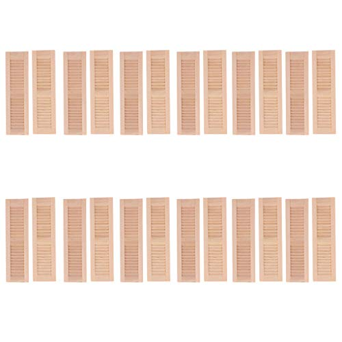 Tongina 24 Pieces Shutters Window Model 1:12 Dollhouse Accessories Parts 11.5x3.2cm