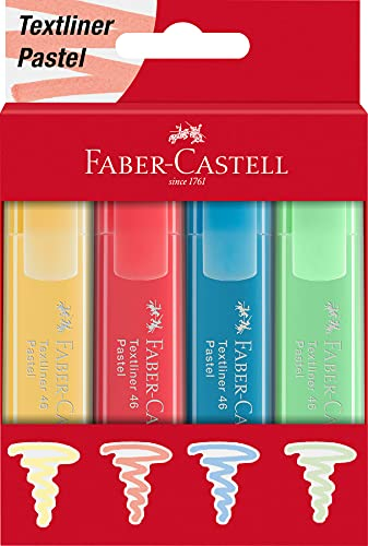 Faber-Castell 254624, evidenziatore 46, colori pastello, set da 4