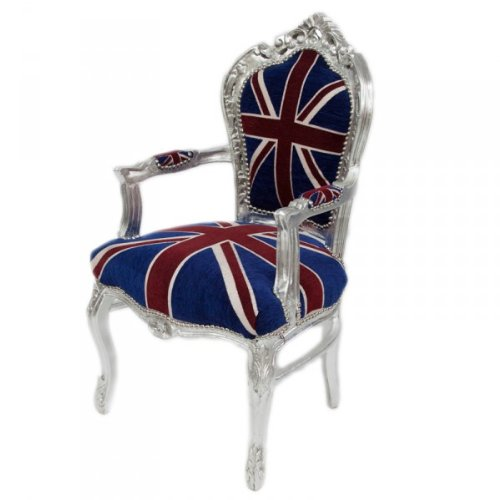 Casa Padrino Barock Esszimmer Stuhl mit Armlehnen Union Jack / Silber - Antik Stil