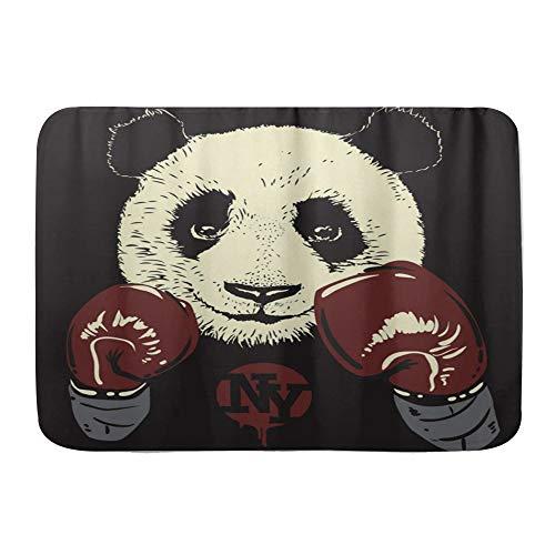Amknu Alfombrillas para baño, Fondo de Guantes de Boxeo Panda,con Respaldo Antideslizante,29.5'X17.5'