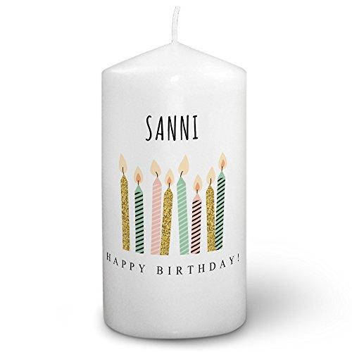 Kerze mit Namen Sanni - Fotokerze mit Design Happy Birthday - romantische Wachskerze, Taufkerze, Hochzeitskerze, Stumpenkerze