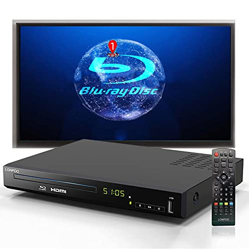 Reproductor de BLU-Ray Full HD, Reproductor de Disco HD con Cables AV HDMI, Reproductor de CD de Cine en casa con DVD Sistema PAL NTSC Integrado con Entrada USB HDMI AV, multirregión