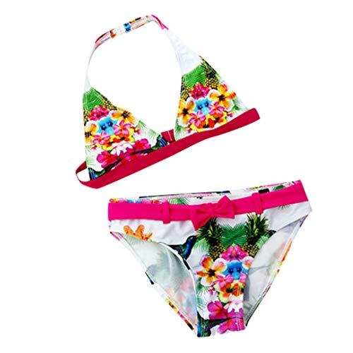 Jimmackey Costume da Bagno Bambina Bikini Set Costumi da Bagno Ragazza Stampa Floreale Swimsuit Due Pezzi Costumi Mare Ragazze 5-11 Anni