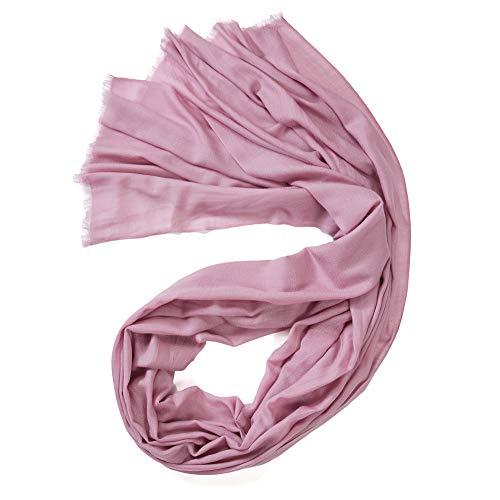 prettystern Extra Großer Damen-Schal Pashmina XXL Tuch 100 Garn 100% Wolle Fein rosa Altrosa