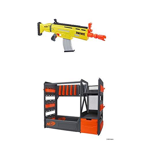 Nerf E6158EU4 AR-L Motorisierter Spielzeug Blaster, 20 Fortnite Elite Darts, Klappvisier + 11516 Aufbewahrung für Blaster