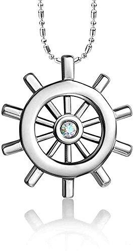 Collar para mujer Collar para hombre Colgante joyas de acero de titanio azul marino navegador viento hombres collar de timón simple joyas de diamantes accesorios colgantes Collar colgante Regalo para