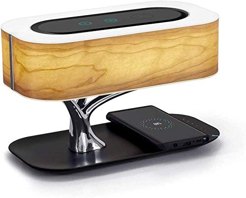 Lámpara de mesa de árbol KOSIEJINN, lámpara de noche con altavoz Bluetooth y cargador USB inalámbrico con modo de suspensión, regalos para el día de la madre del padre