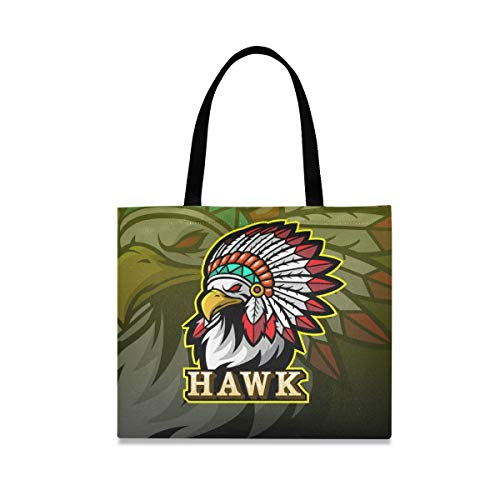Hawk King Art Reusable Shopping Tote Grocery Foldable Bag Portable Storage Shoulder Bags Handbags for Travel Women Girls