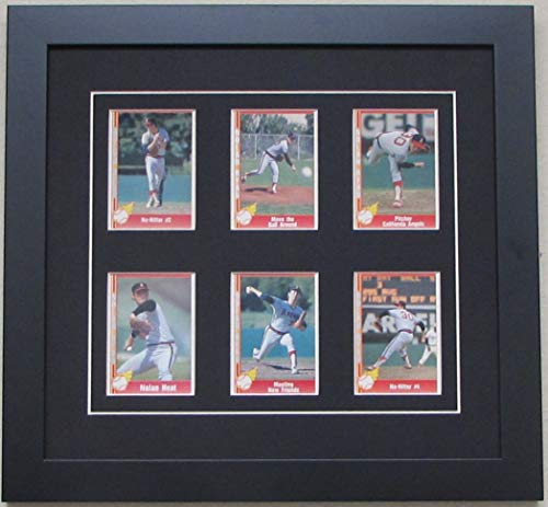Trading Card Display Frame for 6 Cards- Black (White Trim) Mat and Black Frame