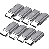 Micro USB to USB C Adapter,8-Pack Aluminum USB Type C Adapter Convert Connector Compatible with Samsung Galaxy S10e S9 S8 Plus Note 9 8, LG V40 V35 V30 V20 G7 G6 G5,MacBook,Pixel 2 XL,Moto Z2 Z3(Gray)