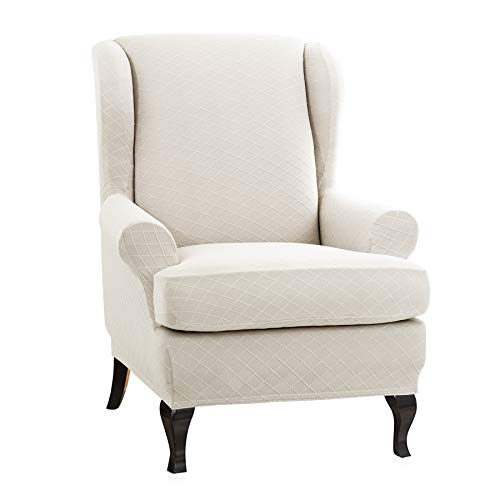 CHUN YI 2-Piece, Wing Chair Rhombus Jacquard Cover, Back Wingback Universal Wing Armchair Slipcovers, Cream White.