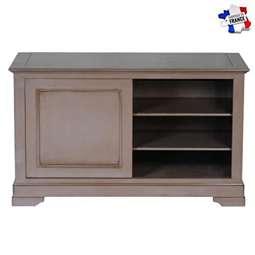 GONTIER TV-meubel, 1 schuifdeur, kersenhout, massief, collectie Flaubert, 100% in Frankrijk gemaakt 107x64x48 Merisier Laque Kenya