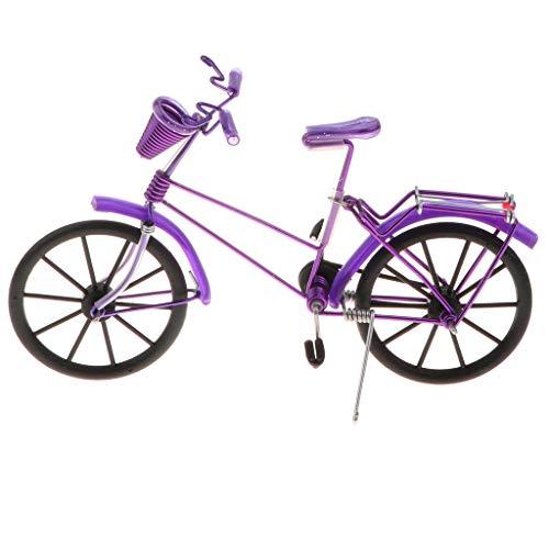Homyl 1:10 Juguete de Vehículos de Simulación Modelo de Bicicleta en Miniatura de Aluminio Escultura de Arte Coleccionable Exhibición - Púrpura