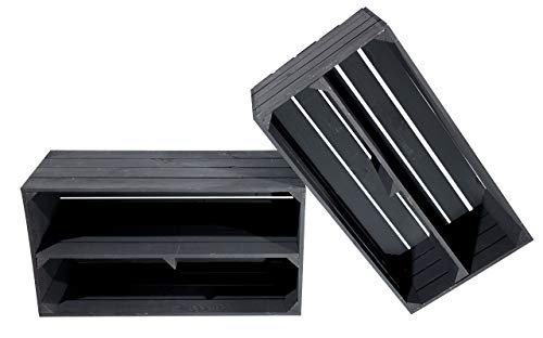 Obstkisten-online 2X SCHWARZES Sideboard aus Holz - NEU - ideal als Multimedia Schrank für DVD's und Blu-Ray's, mit Regalboden - 74,5x40x31 cm