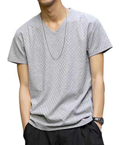 (エーエスエム) A.S.M メンズ Tシャツ スモール ブロック ジャガード 半袖 VネックTシャツ 02-66-9902 48 ライトグレー