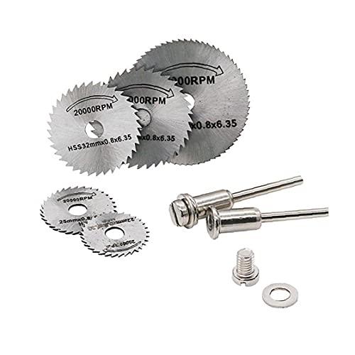 7pcs / Set portátiles Hojas de sierra circulares de herramienta rotativa de corte discos mandril Dremel para corte, herramientas eléctricas