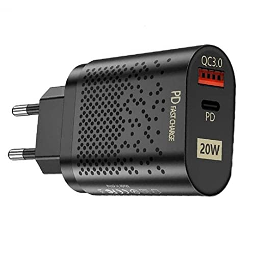 QC3.0 Cargador rápido 20W USB Cargador de Pared Adaptador de Enchufe del Cargador con los Puertos duales del teléfono móvil Cargadores Negro