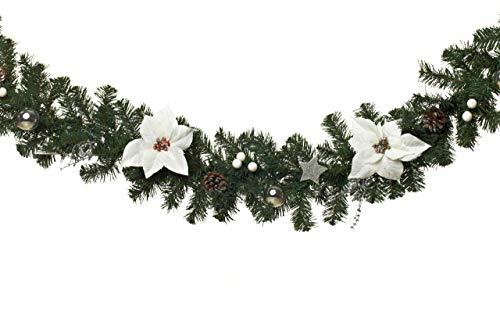 HEITMANN DECO Tannengirlande für innen - Weihnachtsgirlande Dekogirlande Girlande Weihnachten - natürliche Dekoration - Grün, Weiß, Silber