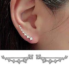 Cabet 7 Crystals Ear Cuffs Hoop Climber Sterling Silver Earrings Hypoallergenic Earring #1