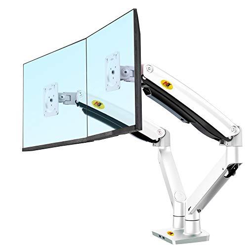 """NB North Bayou Monitor Halterung 2 Monitore 22\""""-32\"""" Zoll LED/LCD Schreibtisch Monitorständer Monitorhalterung Tisch Ständer neigbar 180° schwenkbar 360° höhenverstellbar 3-12 kg VESA 75/100 (Weiß)"""