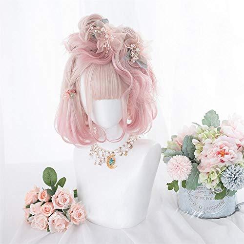 Perruque Femmes 30CM Lolita Mixte Rose Ombre Bob Wavy Bangs court synthétique cosplay perruque courte cheveux mignon Postiches