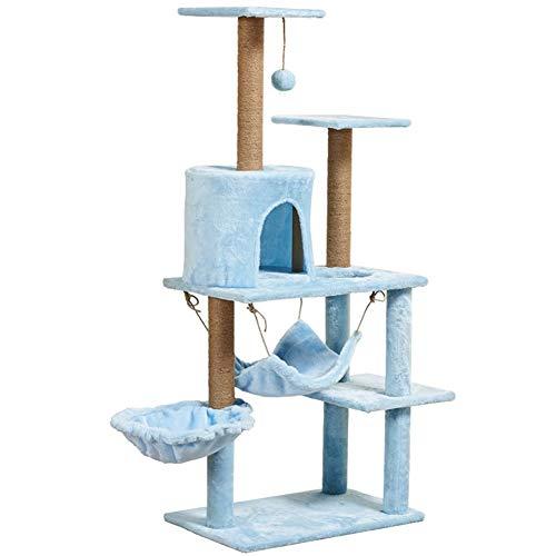 H-ei 51 Pollici Multi-Level Cat Albero con Sisal Tiragraffi, Peluche Perches, condominio e Basket, Gatto Torre Mobili Kitten Activity Centre