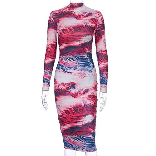 Vestido Midi con Estampado Tie Dye para Mujer, Manga Larga, Hendidura, ceñido al Cuerpo, Sexy, Elegante, Ropa de Fiesta, Ropa de Calle, Cena M Multi