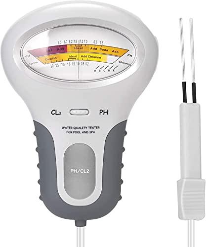 Onepeak PH Chlor Messgerät 2 in 1 PH-Wassertester Chlormessgerät Chlorwasser Qualitätsprüfgerät CL2 Messung für Pool Aquarium Spa Schwimmbad