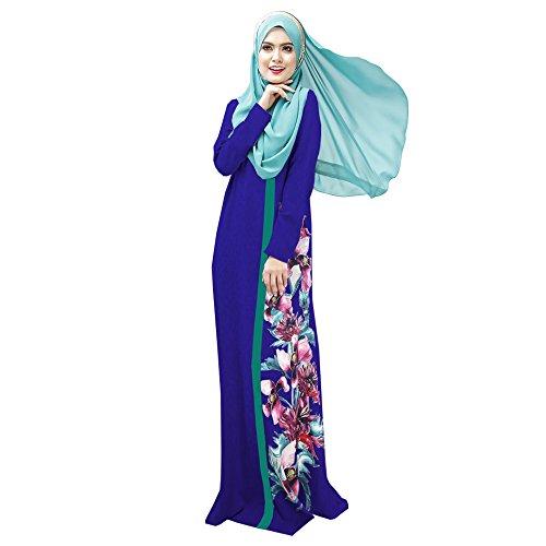 Lazzboy Muslimische Frauen Druck Multicolor Pocket Middle East Long Dress Hijab Schal Lange Kopftuch Feste Schals Arabien Gebet Kleid Kleidung Kleider Muslim(Blau,2XL)