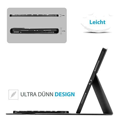 ProCase Deutsche Tastatur Hülle mit Stifthalter für iPad Air 4 Generation 10.9 Zoll 2020 (Deutsches QWERTZ) Keyboard Case, Ultradünn Schutzhülle mit Magnet Abnehmbar Kabellos Tastatur –Schwarz