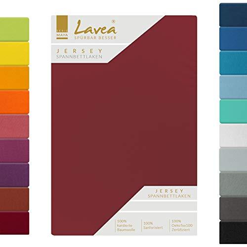 Lavea Jersey Spannbettlaken, Spannbetttuch, Serie Maya, 90x200cm | 100x200cm, Bordeaux, 100% Baumwolle, hochwertige Verarbeitung, mit Gummizug