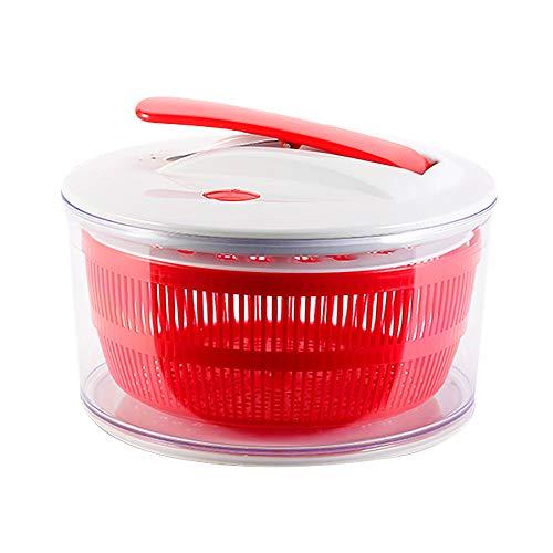 Y&MoD Salatschleuder Drücken Typ Großem Fassungsvermögen Manuell Obst und Gemüse Trockner,Multifunktional mit Ablaufsieb Schnell Trockenes,Geeignet für Hause,Rot