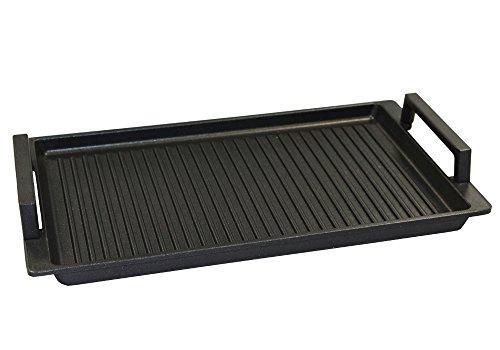 Aluguss Grillplatte Induktion - auch für alle Herdarten geeignet (Grillplatte mit Seitengriff)