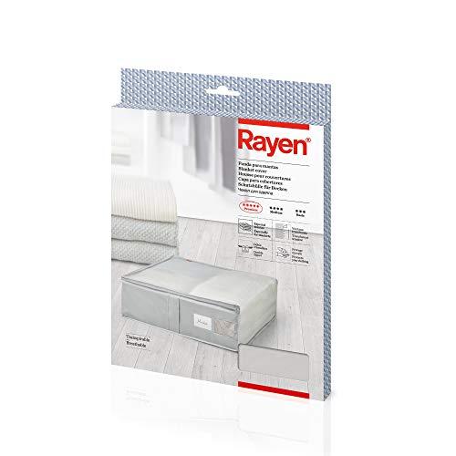 Rayen - Funda de tela para ropa con cremallera, rejilla transpirable, plegable y resistente, 55 x 65 x 20 cm, Gris Claro/Translúcido