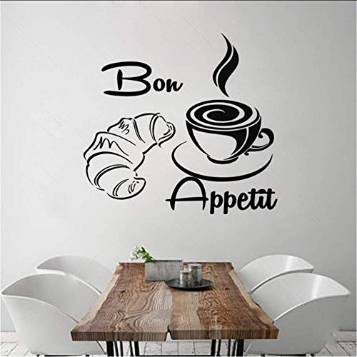 Neue Ankunft Kaffee Croissant Wandtattoos Französisch Vinyl Removable Home Decor Wand Stickers45X43Cm