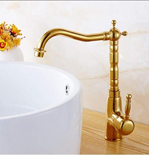 HTBYTXZ Accesorios de decoración para el hogar más vendidos latón Dorado Grifo de Cocina de 360 Grados baño Giratorio Lavabo Lavabo Grifo Grifo