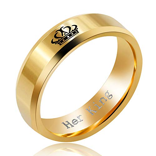 Uloveido 6mm Stainless Steel Wedding Band Gold Her King Queen Wedding Engagement Comfort Fit Rings for Men SN140 (Size 11)