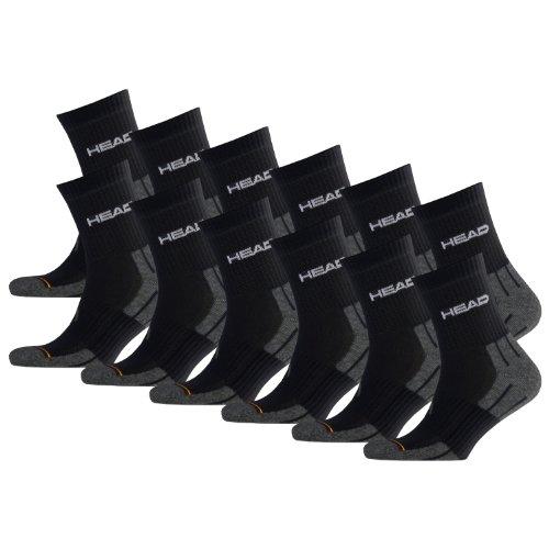 HEAD Unisex Performance Short Crew Socken Sportsocken 12er Pack Black 200-43/46