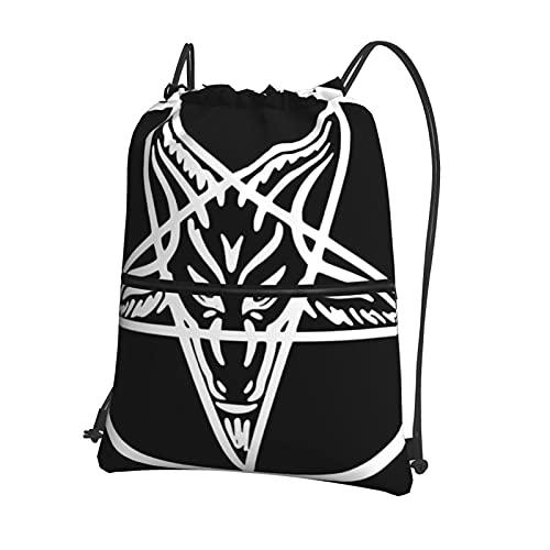 Baphomet Pentagramm - Mochila de viaje con cordón para gimnasio, mochila ligera para hombres y mujeres