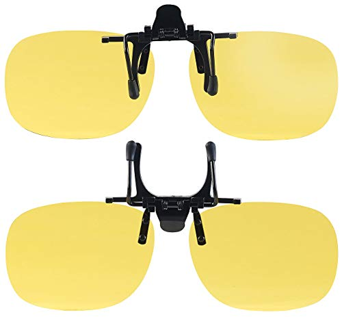 PEARL Nachtsicht Brillenclip: 2er-Set Nachtsicht-Brillenclips, rundliches Design, polarisiert, UV400 (Blendschutz Auto Nacht)