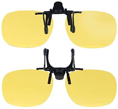 PEARL Nachtsichtbrille: 2er-Set Nachtsicht-Brillenclips, rundliches Design, polarisiert, UV400 (Blendschutz Auto Nacht)