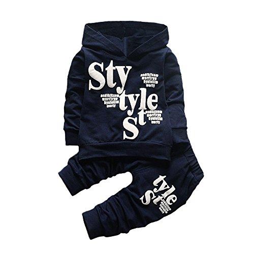 Kinderkleidung 2 stück Set Kleidung Kleinkind feiXIANG Brief drucken Sweatshirt mit Kapuze Tops Hosen Jungen Langarm Outfits(Marine, 120)