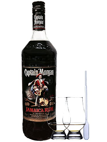 Captain Morgan Black Label Jamaika 40{f2296d1acd0f3725b5d12d7f33255d255e6c5f7b8a276b51f983aeeccf856a87} 0,7 Liter + 2 Glencairn Gläser + Einwegpipette 1 Stück
