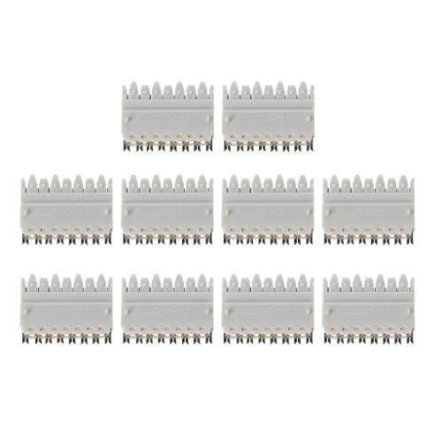 10 piezas 110 tipo 4 pares hembra Rj45 módulo telefónico para marco de distribución, conector de resorte con pasador de resorte, corona, cable de voz chapado en plata