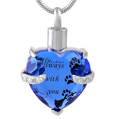 OPPJB Collar De Cenizas Colgante Decollar con Colgante De Corazón Púrpura, Mi Recuerdo, Urna, Cremación, Mi Mejor Amigo, Collar para Mascotas-D