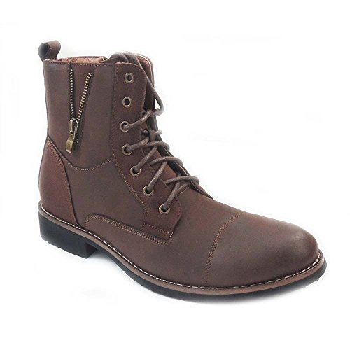 Ferro Aldo New Mens HIGH Ankle Boots Military Combat Style LACE UP Zippered Shoes BROWN803 (13)